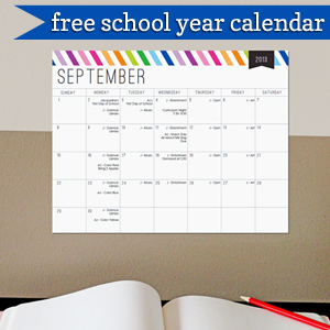 Free School Year Calendar by 505-design.com