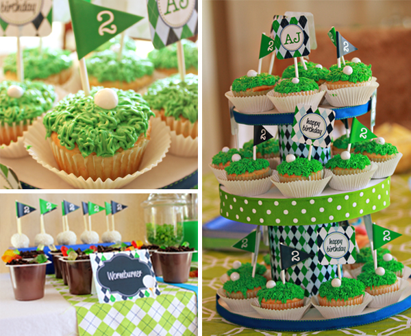 Golf Birthday Party Cupcakes by 505-design.com