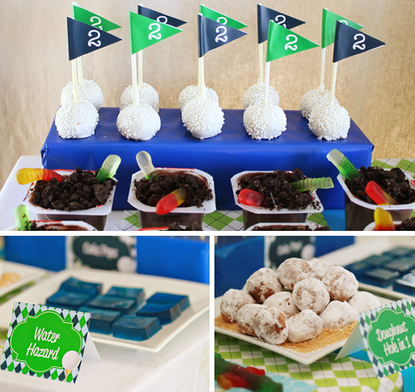 Golf Cake Pops, Water Hazzard Jello & Doughnut Hole in One by 505-design.com