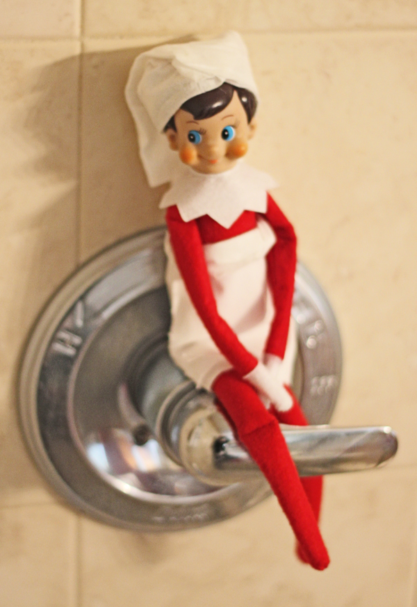 Elf on the Shelf Idea - Taking a Shower