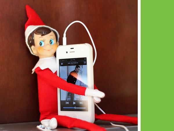 Elf on the Shelf Idea - Listening to iPod