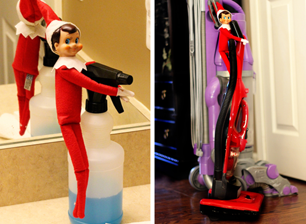 Elf on the Shelf Cleaning Windows and Vacuuming