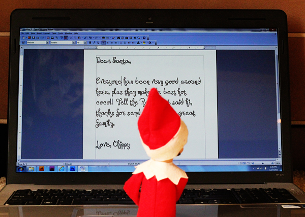 Elf on the Shelf Idea - Typing Letter to Santa