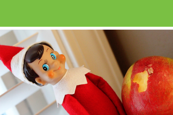 Elf on the Shelf Idea - Eating an Apple