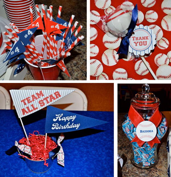 Baseball Party Party Straws, Cake Pops & Centerpiece Flags