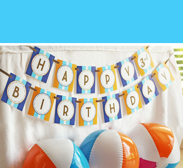 Surfs Up Birthday Banner