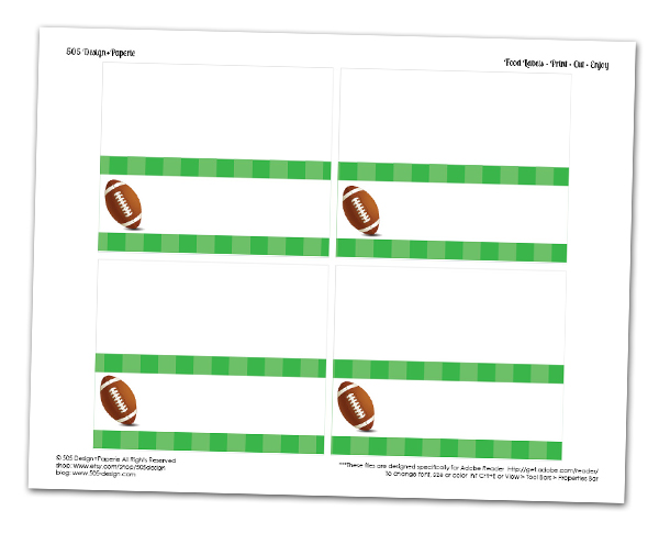Free Football Food Labels | www.505-design.com