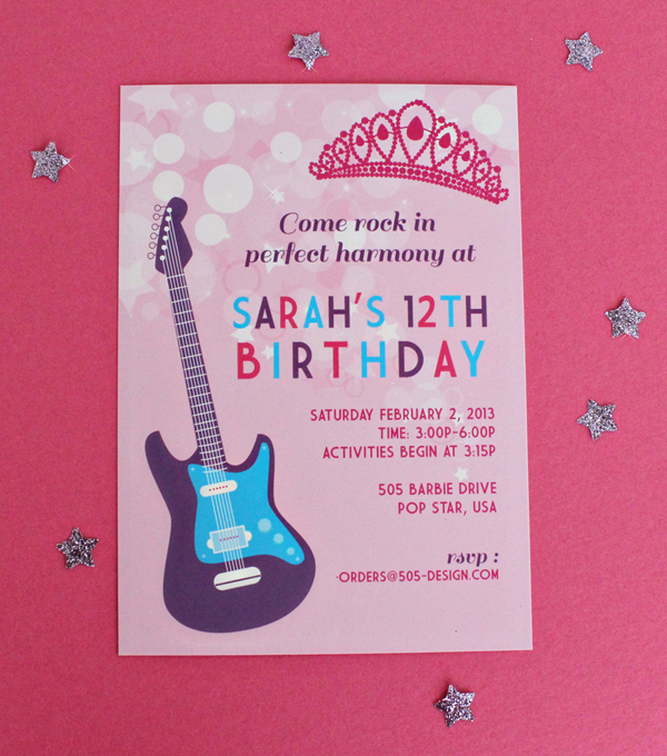 Princess Popstar Invitation | 505-design.com