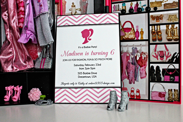 Vintage Barbie Invitation | 505-design.com