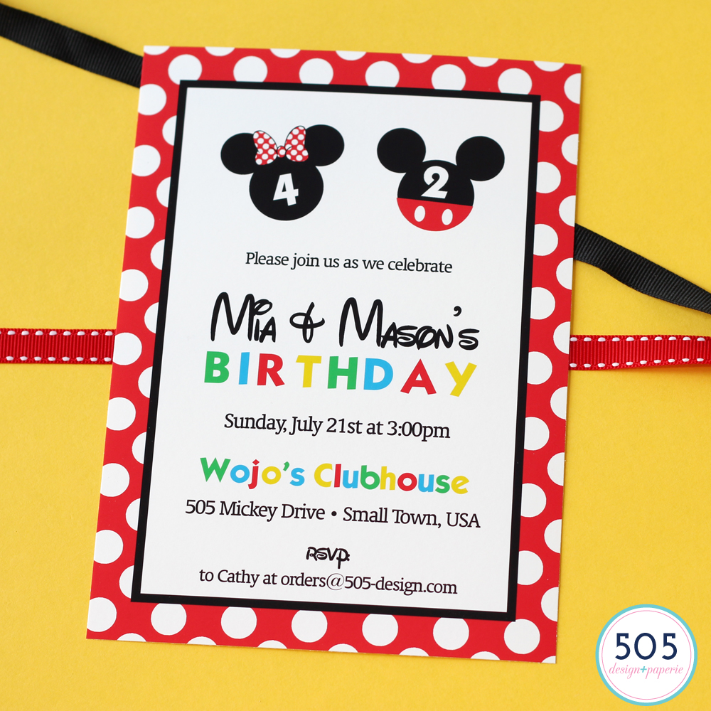 Mickey and Minnie Invitation by 505 Design+Paperie