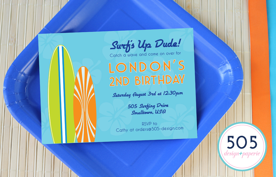 Surfs Up Boys Invitation by 505 Design+Paperie