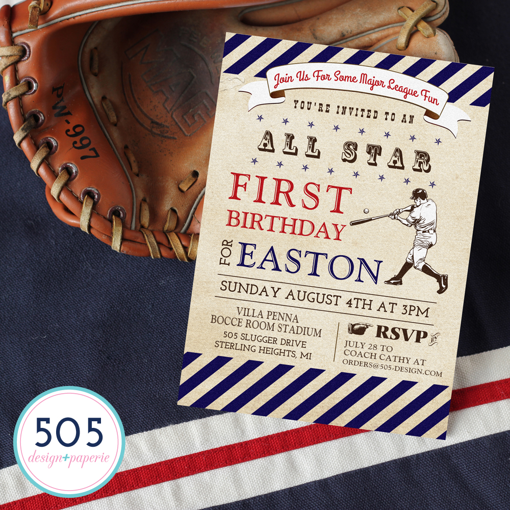 Vintage Baseball Boys Invitation by 505 Design+Paperie