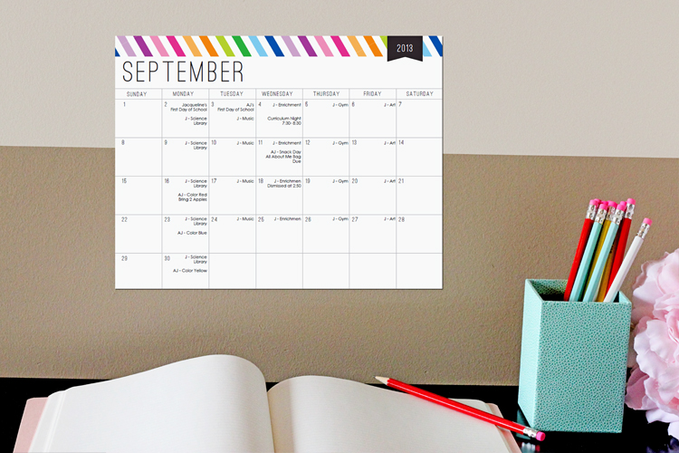 Editable School Calendar by 505-design.com