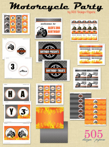 Printable Motorcycle Party by 505-design.com