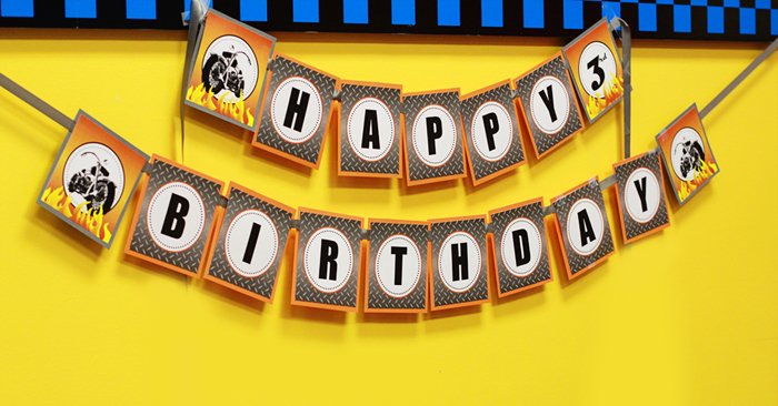 Motorcycle Birthday Banner by 505-design.com