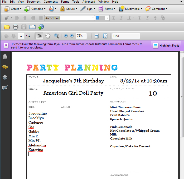 Editable Party Planner Pages | 505-design.com