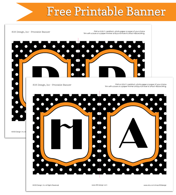 Free Printable Halloween Banner | 505-design.com