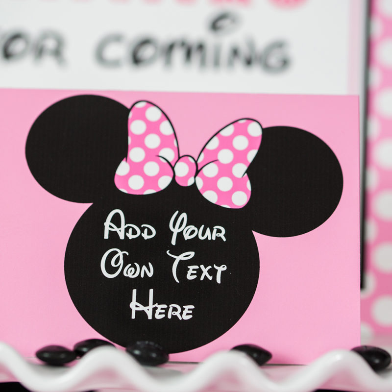 Pink Minnie Mouse Food Labels
