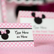 Pink Minnie Mouse Buffet Labels
