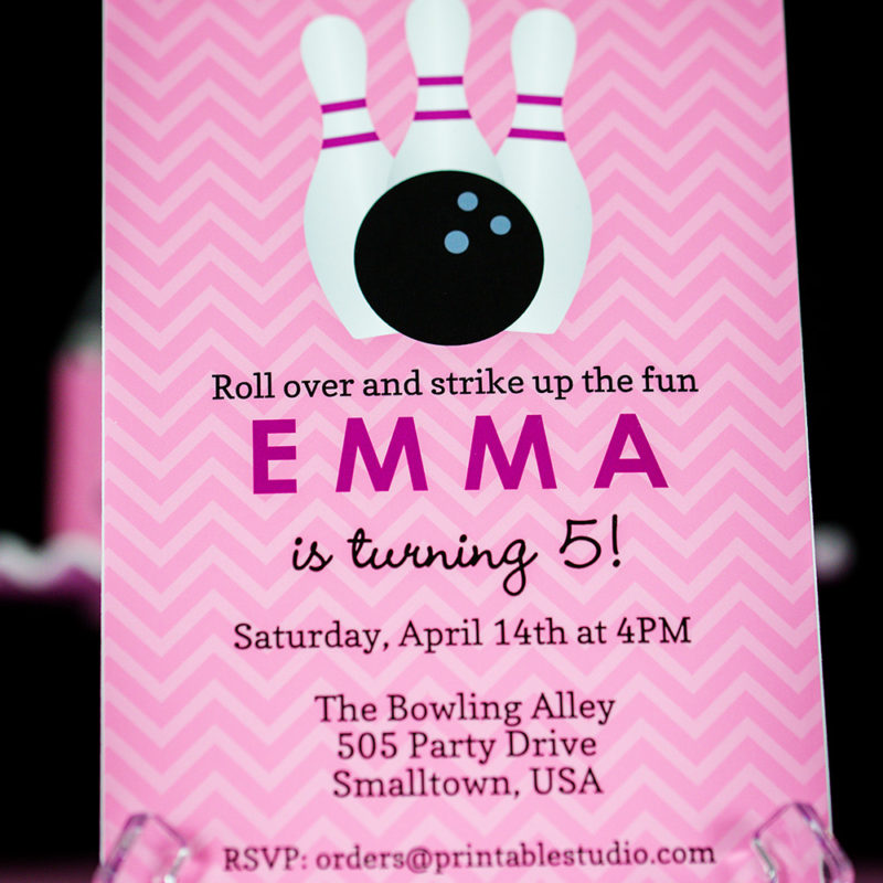 Pink Bowling Invitation
