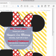 Instant Download Minnie Mouse Invitation