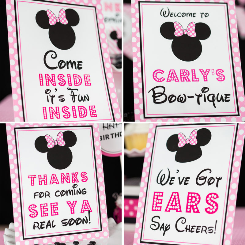 Pink Minnie Mouse Party Signs