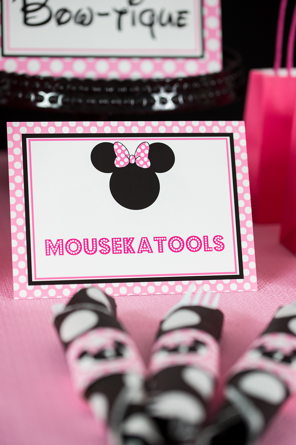 Pink Minnie Mouse Party Signs 505 Design Inc