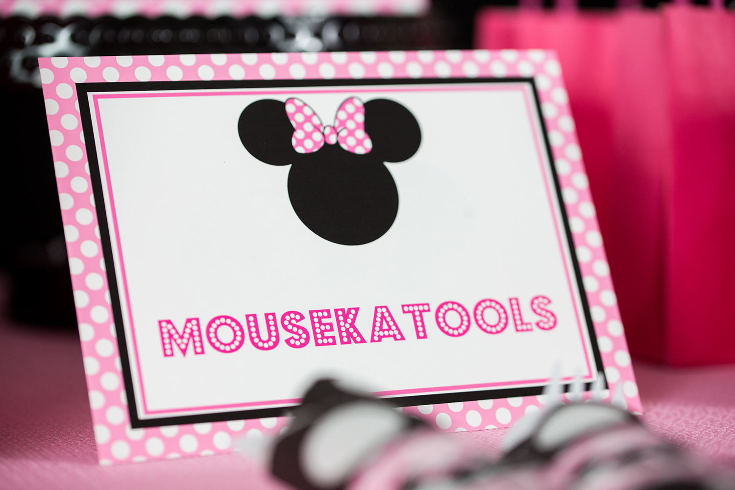 Pink Minnie Mouse Party Signs — 505 Design, Inc