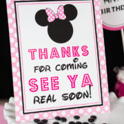 Minnie Mouse Thanks For Coming See Ya Real Soon Sign