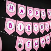 Girls Bowling Birthday Banner
