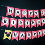 Red Minnie Mouse Birthday Banner