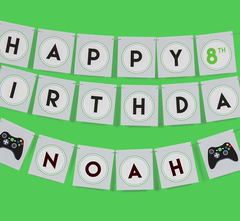 Video Game Birthday Party Banner
