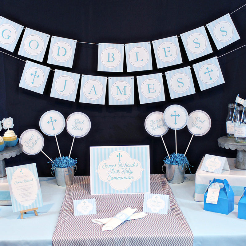Boys Baptism or First Communion Party Decorations