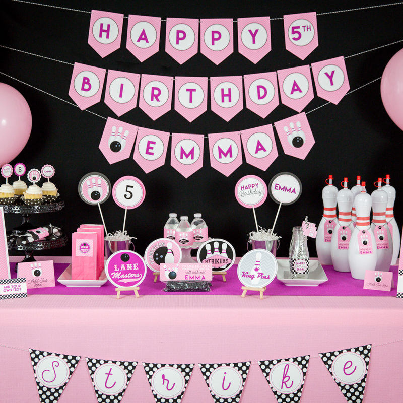 Pink Bowling Birthday Party Decorations And Invitation 40 Design Inc Gorgeous Bowling Birthday Party Decorations