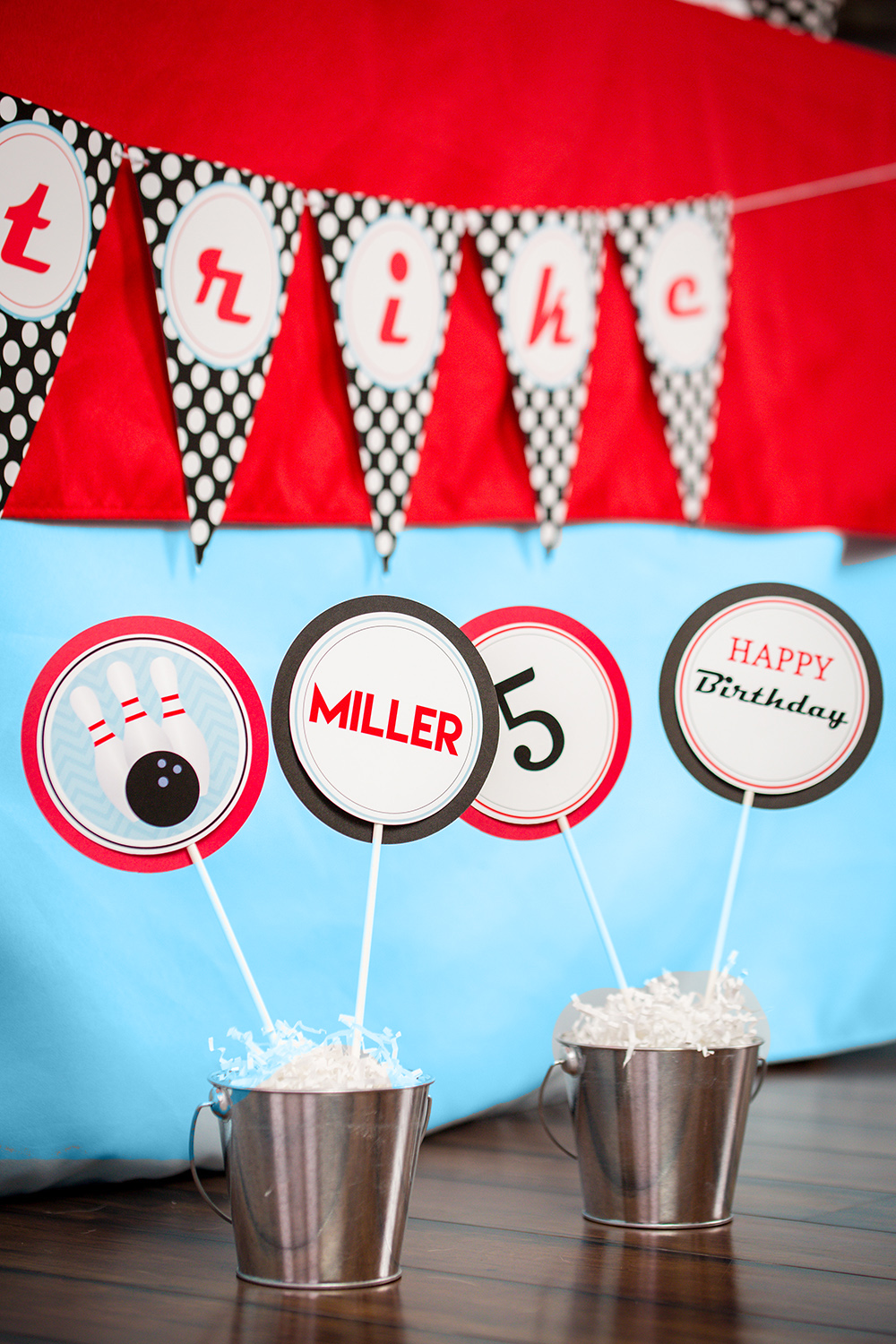 printable bowling birthday party decorations and