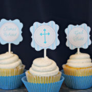 Boys Baptism or First Communion Cupcake Toppers