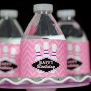 Bowling Birthday Party Water Labels