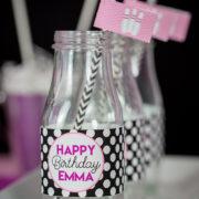 Girls Bowling Birthday Drink Labels