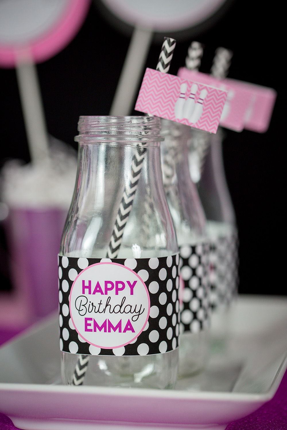 pink bowling birthday party decorations and invitation
