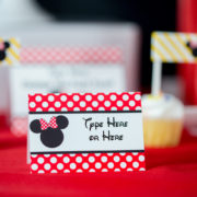 Red Minnie Mouse Editable Food Label