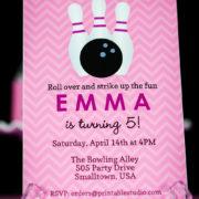 Girls Bowling Birthday Party Invitation