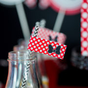 Red Minnie Mouse Straw Flag