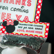 Red Minnie Mouse Treat Bag Topper