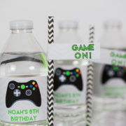Video Game Party Water Label