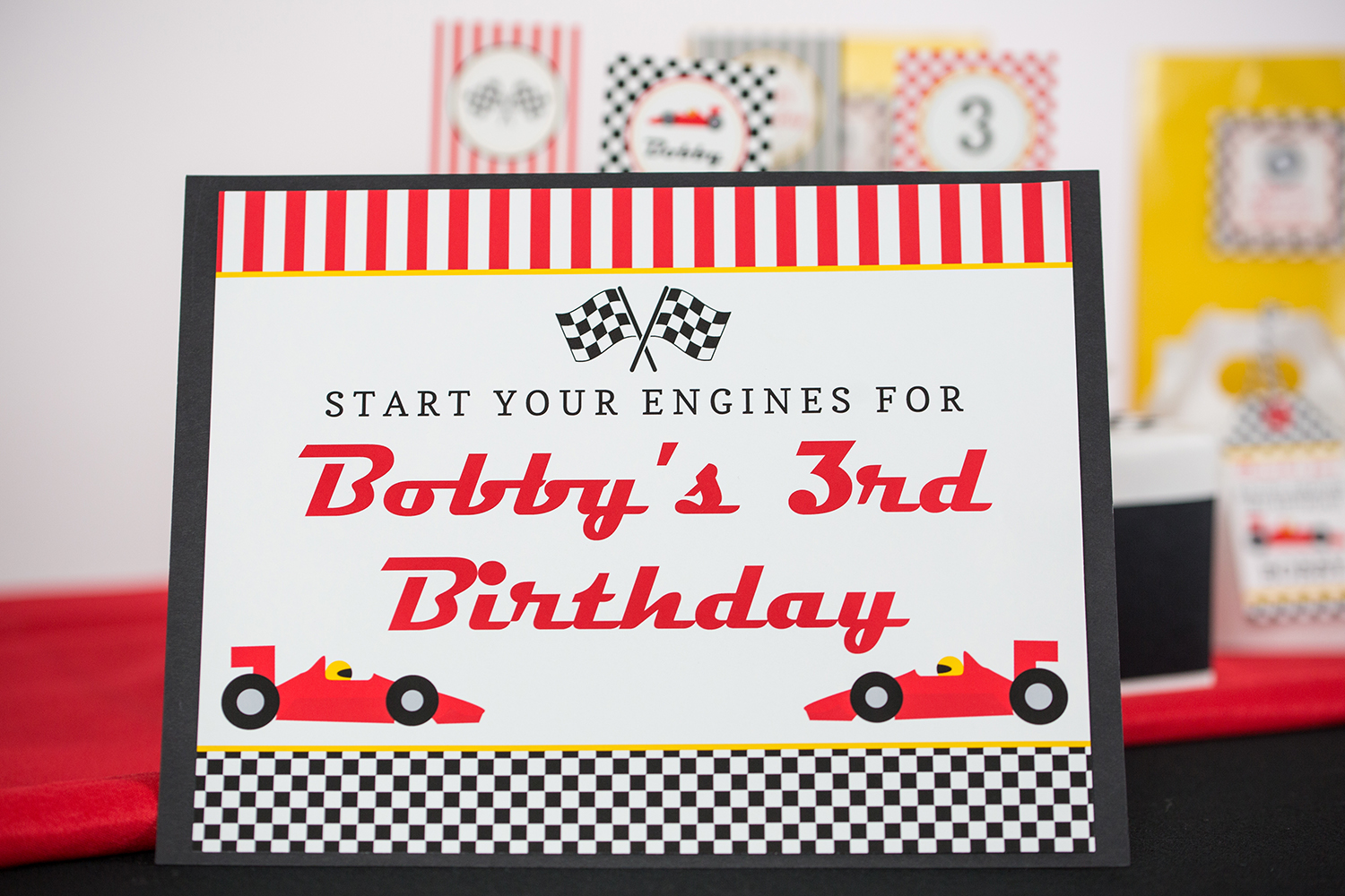 Printable Race Car Birthday Party Decorations And