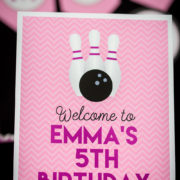 Girls Bowling Birthday Party Welcome Sign