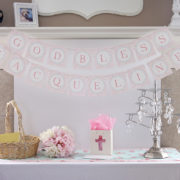 First Communion Banner in Pink