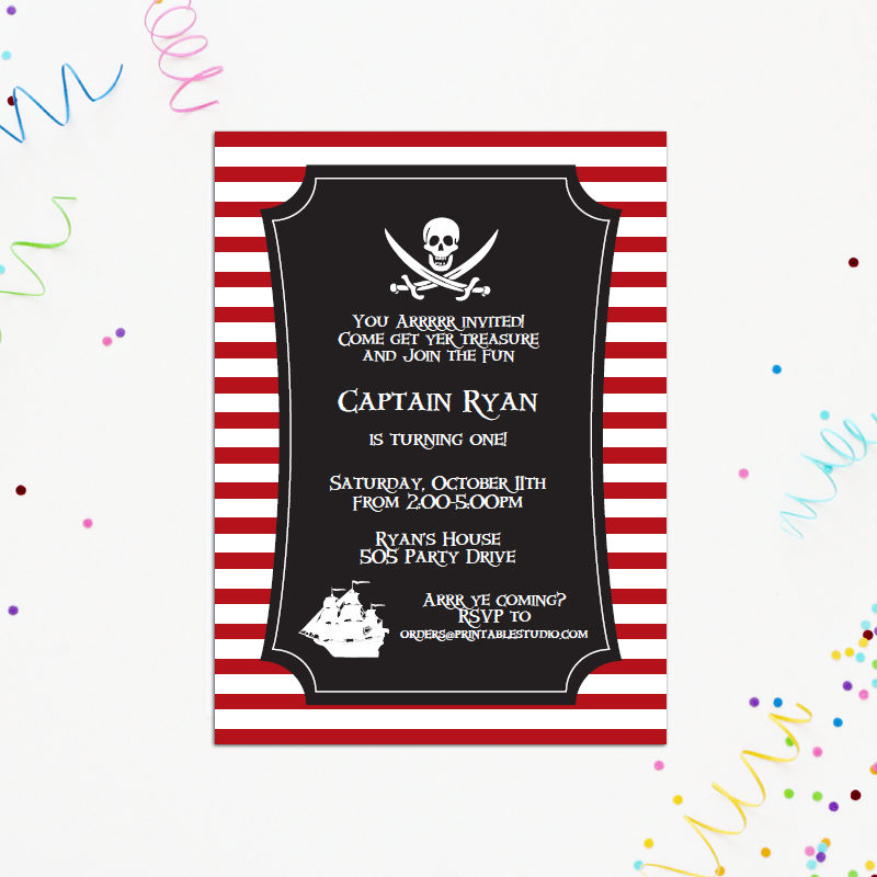 Printable Pirate Party Invitation
