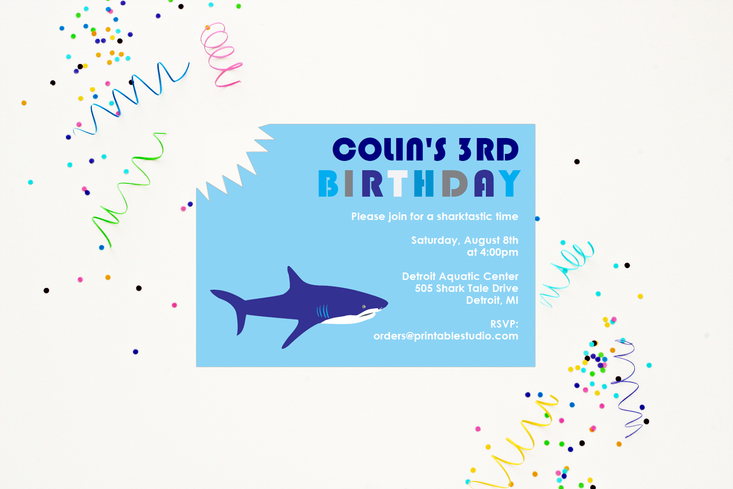 Shark Birthday Party Decorations 505 Design Inc – Shark Invitations Birthday Party