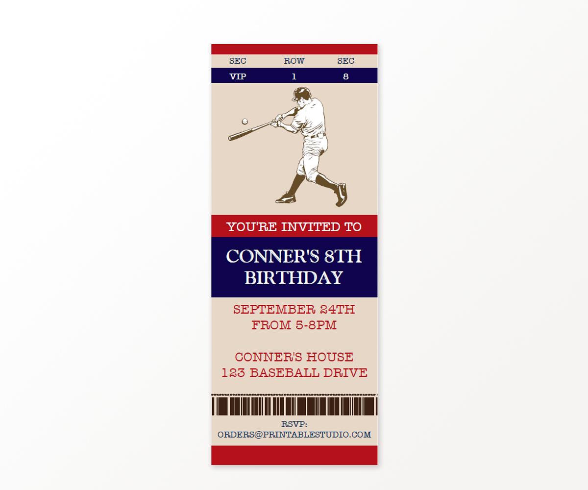 Vintage Baseball Birthday Party Invitation — 505 Design, Inc